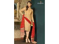 Pakistani Indian Asian unstitched suit chiffon gold