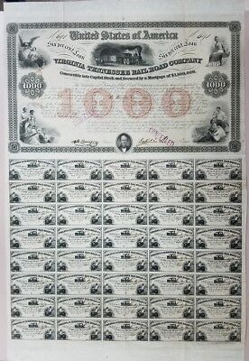 $1000 Virginia and Tennessee Rail Road Company 6% Loan - 1853