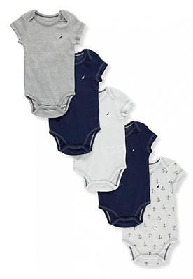 Nautica Infant Boys 5 Pack Bodysuits Size 0/3M 3/6M 6/9M $42