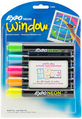Expo Neon Window Dry Erase Markers Bullet Tip Bright Bold Colors Low Odor Ink - Expo Neon Dry Erase Markers
