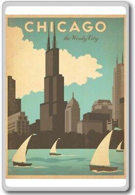 Chicago The Windy City - USA Vintage Travel Fridge Magnet
