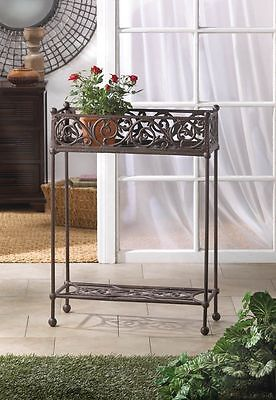 CAST IRON RECTANGULAR TWO~TIER POTTED PLANT STAND DISPLAY DECOR NEW~10015519