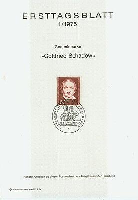 Berlin West Ersttagsblatt 1975 Gottfried Schadow Mi 482