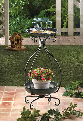 green IRON Metal bird bath Bird feeder 2 tier plant stand flower planter shelf
