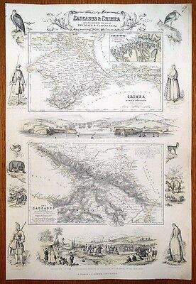CAUCASUS & CRIMEA, UKRAINE, RUSSIA, GEORGIA,ARMENIA, Fullarton antique map c1865