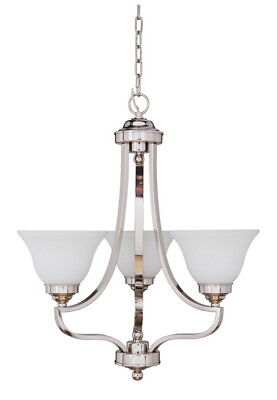 Craftmade Portia 3 Light Polished Nickel Chandelier With White Frosted Glass