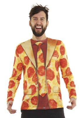 Pizza Halloween-kostüm (Faux Real Men's Pizza Suit Halloween Costume Long Sleeve T-Shirt Size Large )