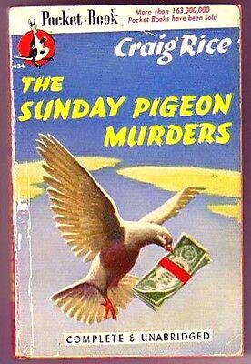 The Sunday Pigeon Murders  Craig Rice 1St Us Pb Bingo Riggs   Handsome Kuzak