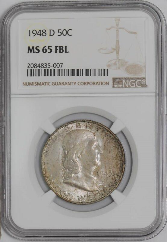 1948-D Franklin Half 50c #938976-11 MS65 FBL NGC