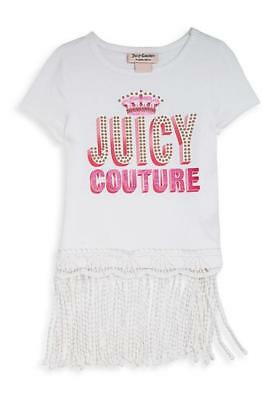 Juicy Couture Girls White & Pink Top Size 4 5 6 6X 7 8/10 12/14 16 (Girls White Top)
