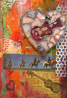 Guitar Music Collage Wall Art Reclaimed Mixed Media Horse Heart Colorful Small