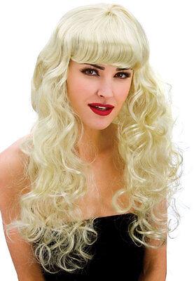Cassie Lockenperücke mit Pony blond NEU - Karneval Fasching Perücke Haare