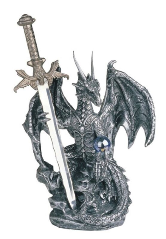 Silver Dragon with Sword Medieval Statue Figurine Fantasy Mythical Decoration