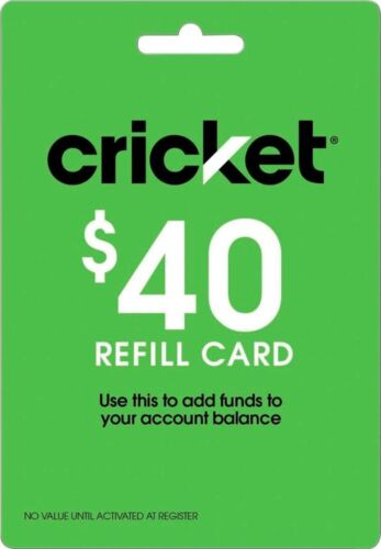 Cricket Wireless $40 Refill Card - NO EMAIL / NO MESSAGE NEW