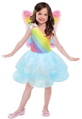 Mädchen Barbie Regenbogen Kostüm Gr. 110 116  Karneval Kinder + Flügel - Regenbogen Mädchen Kostüm