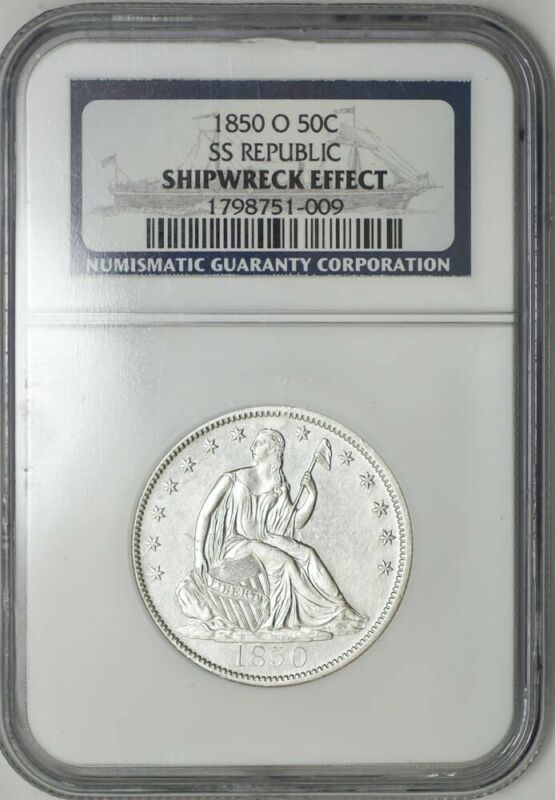 1850-O Seated Liberty Half 50c SS Republic NGC Only 59 Recovered