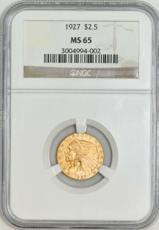 1927 $2 1/2 Gold Indian MS65 NGC 943027-4