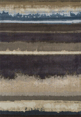 Brown Contemporary Machine Made Bars Faded Distressed Area Rug Abstract AN2 ()