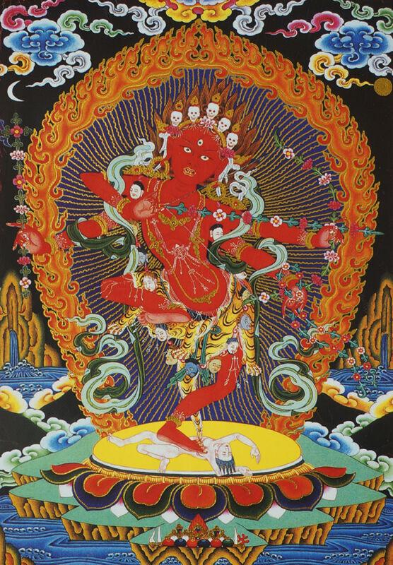 "14""SILK BROCADED SCROLL THANGKA: BUDDHA MOTHER KURUKULLE, ROSY ARCHER GODDESS  ="