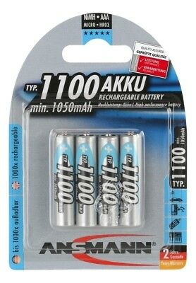 ANSMANN 1100 mAh AAA High Capacity Rechargeable Batteries 4 Pack 5035232, used for sale  Blackwood