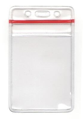 10 Vertical Zipper Id Card Holder Sealable Waterproof Plastic Sleeve Badges