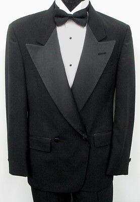 (Black Christian Dior Double Breasted Satin Peak Tuxedo Jacket w/ Optional Pants)