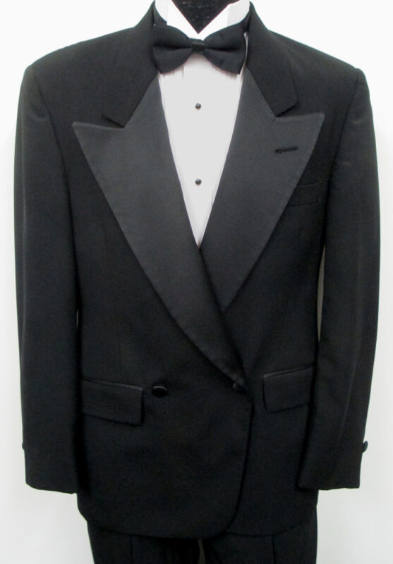 Black Christian Dior Double Breasted Satin Peak Tuxedo Jacket w/ Optional Pants