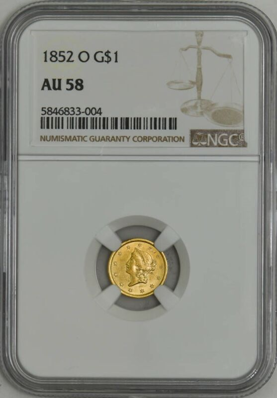1852-O $ Gold Liberty Dollar AU58 NGC 943004-5
