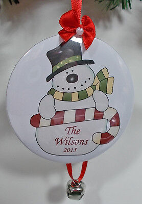 6 Support PERSONALIZED CHRISTMAS ORNAMENTS SNOWMAN CANDYCANE  YOUR NAME & YEAR