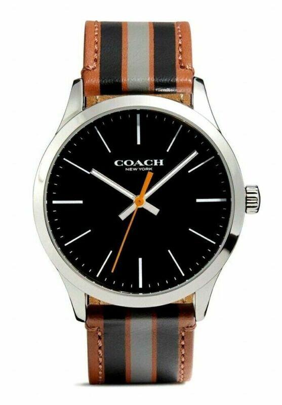 Coach Baxter Leather Strap With Varsity Stripe Men?s Watch 14602366