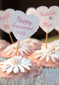 ENGAGEMENT CAKE DECORATIONS 10 PERSONALISED CUPCAKE FLAGS TOPPERS HEART FLAGS