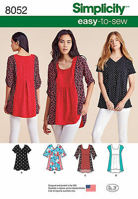 Simplicity 8052 aka S0651 Sewing Pattern EASY-To-Sew Misses Size 4 -26 Top Easy To Sew Patterns