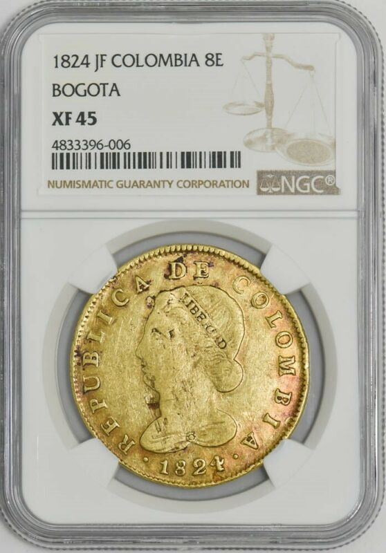1824 JF Colombia 8 Escudos Gold Bogota .7616 AGW XF45 NGC 942218-1