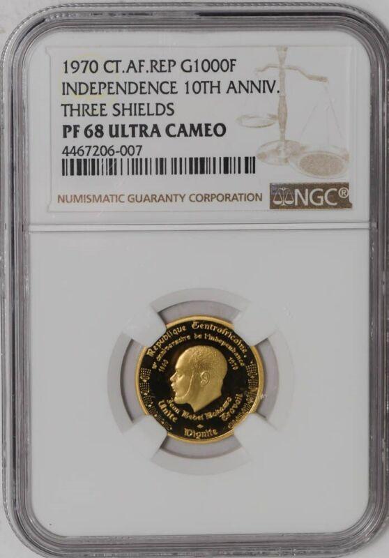 1970 Central Africa Republic Gold 1000 Franc PF68 UCAM NGC .1013 AGW   936859-7