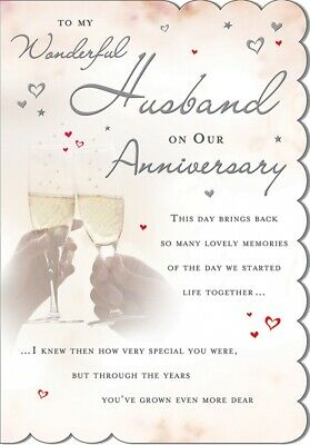 HUSBAND ANNIVERSARY CARD - QUALITY CARD - CHAMPAGNE DESIGN & BEAUTIFUL VERSE
