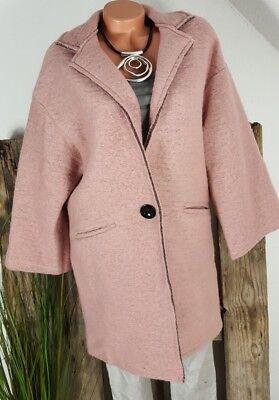 Vintage Wolle Jacke (  NEU VINTAGE WALK FILZ BLAZER JACKE MANTEL 80% LANA / WOLLE ROSA 38-42)