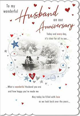 To My Wonderful Husband On Our Anniversary Card - 9 x 6.25 Inches