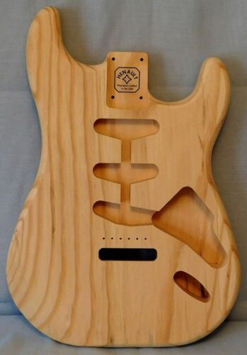 Unfinished Stratocaster Style Solid body for Tremolo, Southern Yellow Pine