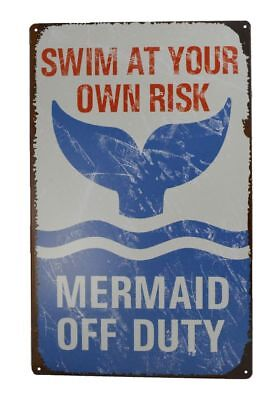 Vintage Tin Sign Swim at Your Own Risk Mermaid Off Duty Poolside Wall Decor 16