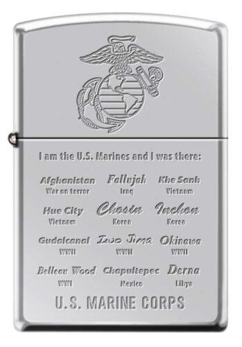 US Marines Famous Battles Polished Chrome Zippo Lighter - Semper Fi