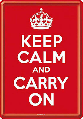 Blechpostkarte Keep Calm and Carry On, 10 x 14,5 cm