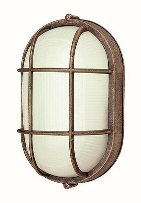 Rust Cast Aluminum 1 Light Fluorescent/LED Exterior Oval Bulk Head Wall