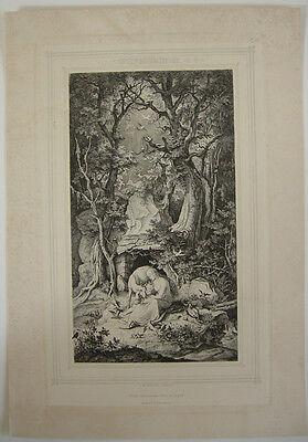 Ludwig Richter (1803-1884)  Heilige Genoveva Orig Radierung 1860