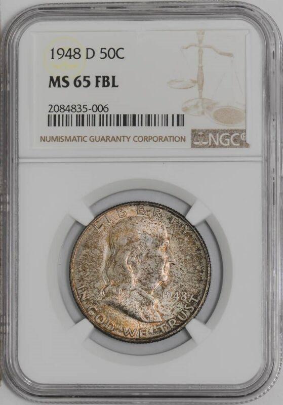 1948-D Franklin Half 50c #938976-10 MS65 FBL NGC