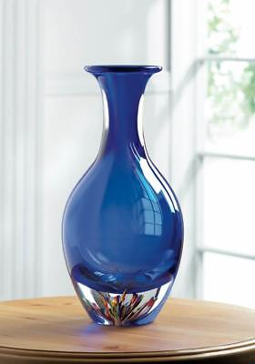 ocean BLUE abstract Handmade modern art Glass Sculpture Flower VASE centerpiece