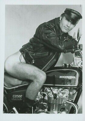 Greeting Card / Large / Nude biker in leather on bike / Gay Interest Biker Greeting Cards