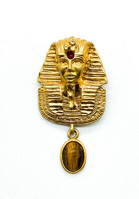 Vintage Gold Tone Egyptian Revival Pharaoh Scarab Beetle Tiger Eye Pin Brooch