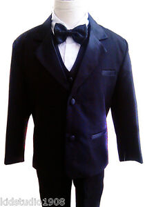 BT-2012-NEW-BOYS-TUXEDO-WITH-VEST-BOW-TIE-BLACK-FORMAL-SUIT-size-S-20