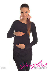 Lovely Maternity Asymmetric Neck Top Tunic Pregnancy Size 8 10 12 14 16 18 6053
