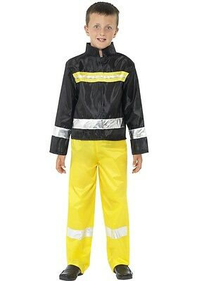 Boys Firefighter Costume Fire Fighter Man Fireman Outfit Halloween Kids Childs - Firemen Costumes